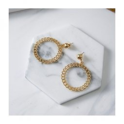 A-FX-E3521gold Golden Circle Chain Korean Fashion Earstuds