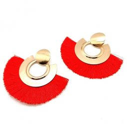 A-SD-XL0121- Red Big Circle Gold Classic Tassel Earstuds