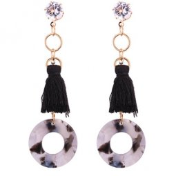P130449 Black Tassel Shiny Crystals Korean Inspired Earstuds