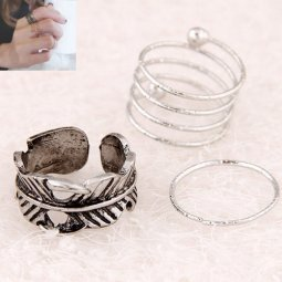 C10071258 Silver Antique Leaves 3 Ring Set Malaysia Shop