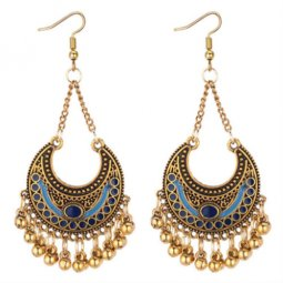 P131302 Moon Crescent Two Tone Blue Gold Bells Hook Earrings