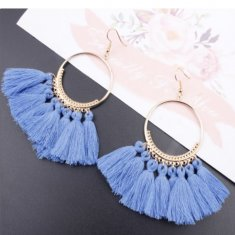 A-SD-SL218blue2 Blue Tassels Round Bohemian Hook Earrings