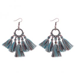 A-DW-HQE776colour2 Turquoise Crystals Mixed Tassel Hook Earrings