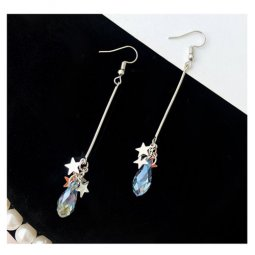 A-LG-ER0505 Dangling Blue Drop Silver Stars Hook Earrings