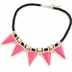 C110301150 Pink triangle statement necklace korean accessories