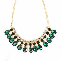 A-FF-HT-80 Green Emerald Stones Beads Statement Elegance Necklac