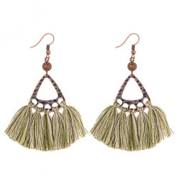 A-DW-HQE934green Wooden Beads Green Tassel Hook Earrings