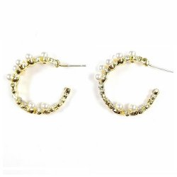 A-TT-72 Pearl And Gold Clara Collection Classic Earrings