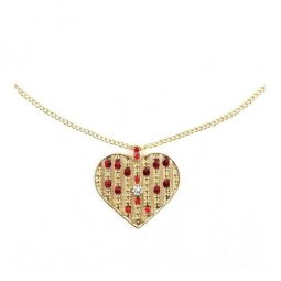B-MLSF-XL605-Red And Gold Heart Shape Long Necklaces