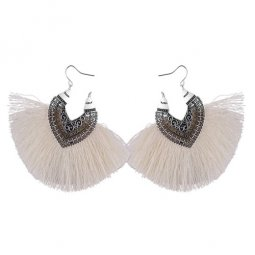 P132581 White Big Tassels Heart Silver Vintage Hook Earrings