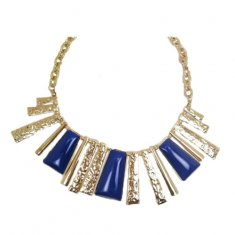 A-MLSF(2)4 Blue Gold Line Rectangular Statement Necklaces