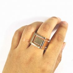 A-MSY-R1045 Chunky Ring Gold Square Shape Elegant Fashion