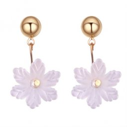 P131273 White Transparent Flower Korean Inspired Earstud Shop