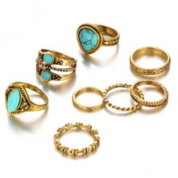 A-PJ-RJ422 Blue turquoise beads vintage midi ring set accessorie