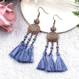 A-HH-HQEF1330B Navy Blue Vintage Geometry Tassel Hook Earrings