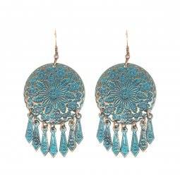 A-DW-HQE532 Vintage Flower Dream Catcher Inspired Hook Earring