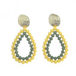 A-SD-ER0225yellow Yellow Statement Earrings Green N Yellow