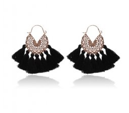A-hh-HQEF-413-1 black gold tassel vogue hoop earring