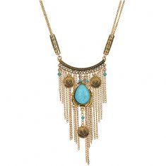 A-Q-Q9518V Vintage turquoise bead dangling long necklace malaysi