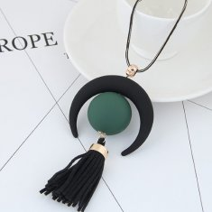 C09041989 Black Tassel Charm Long Necklace Malaysia Shop