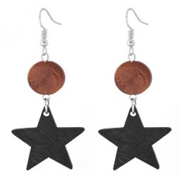 C110414147 Black Wooden Star Arabian Hook Earrings