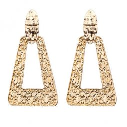 A-FX-E3773 Gold Triangle Loop Abstract Statement Earstuds