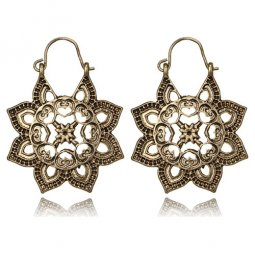 A-YG-6497vintage Golden Vintage Bohemian Mandala Hook Earrings