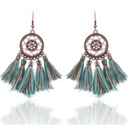 A-KJ-E020966green Green Vintage Flora Bollywood Tassel Earrings