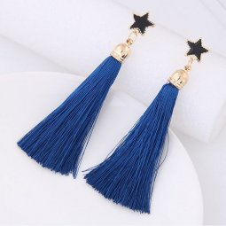 C11055631 Blue Star Dangling Korean Tassel Earstuds