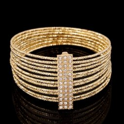 A-CJ-7054 Gold Elegant Crystals Dinner Bangle