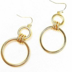 B-FFOM-4C - Simple Classic Gold Double Circle Earrings
