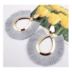 A-SD-EH077(grey) Large Tassel Golden Oval Shaped Grey Earstuds