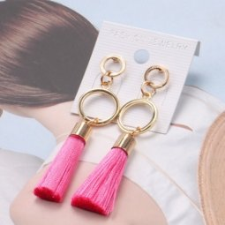 A-QM-113PINK Pink Tassels Gold Ring Circles Earstuds Malaysia
