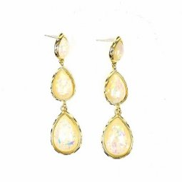A-TT-968 Gold Pearl Glitter Diamond Double Oval Earstuds