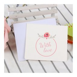 A-LH-WLUV Pink With Love Wording Cute Rose Gift Cards