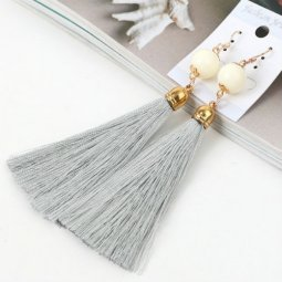 A-QM-235GREY Grey Tassel White Bead Hook Earrings Wholesale