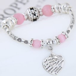 C0150742209 Pink Beads Silver Made Love Adjust Charm Bangle