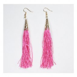 A-UN-FP001 Long Tassel Pink Gold Hook Earrings Classic Style Sho