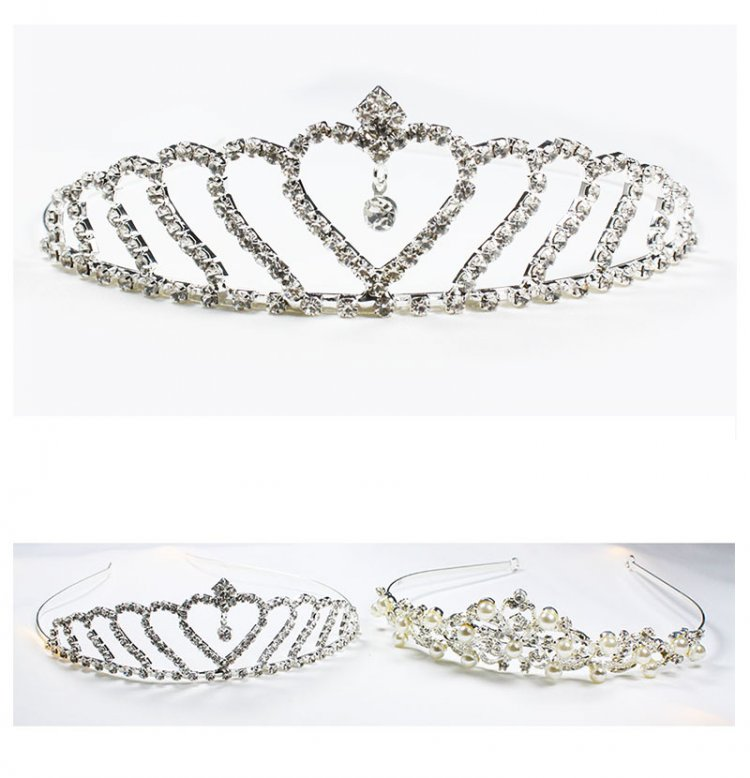 A-YZ-HG0005 Wedding Tiara In Love Shape & Dangling Crystal Bead