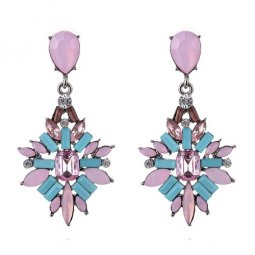 A-CJ-CZ8163 Pink Blue Elegant Diamonds Korean Fashion Earstuds