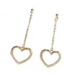A-LG-ER0517 Heart Bling Gold Chain Tanglings Korean Earstuds