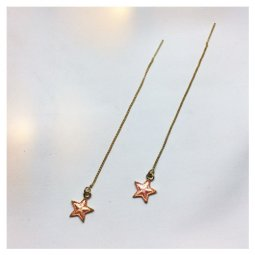 A-LG-ER0635(orange) Dangling Orange Star Korean Style Earstuds