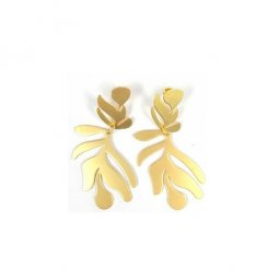 B-MSY-E1977 Gold Leave Simple Korean Hotest Style Earstuds