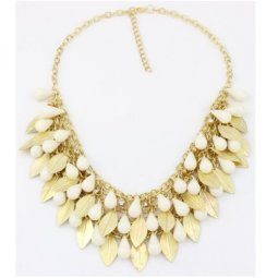 A-HY-F0003 Gold Leave Charms White bead Statement Necklace