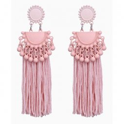 A-FX-E6304 Pastel Pink Long Thick Thread Tassel Korean Earstuds
