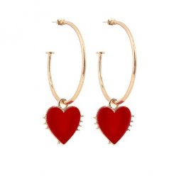 A-DW-heart Red Heart Big Circle Hoop Earrings Malaysia