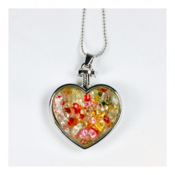 A-ZT-NL208HT Heart Shaped Jar Filled Colorful Beads Necklace