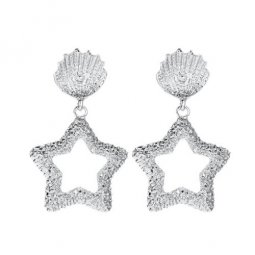 A-JW-4392 Elegant Silver Shells With Star Fashion Trendy Earstud
