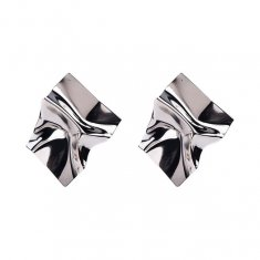 A-MY-0802silve Silver Crumpled Metal Plate Futuristic Earrings
