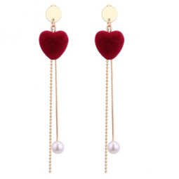 P129339 Maroon Heart White Bead Dangling Korean Earstuds